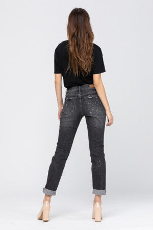Beach Splash Destroyed Jeans in Black by Judy Blue