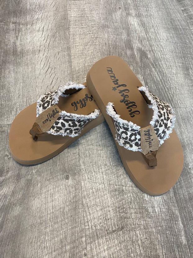 Feel Good Flip Flops by Gypssy Jazz in Cream Leopard