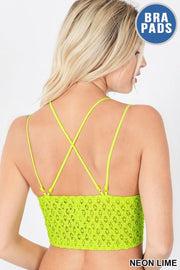 Crochet Lace Bralette in Neon Lime - The Teal Turtle Clothing Company