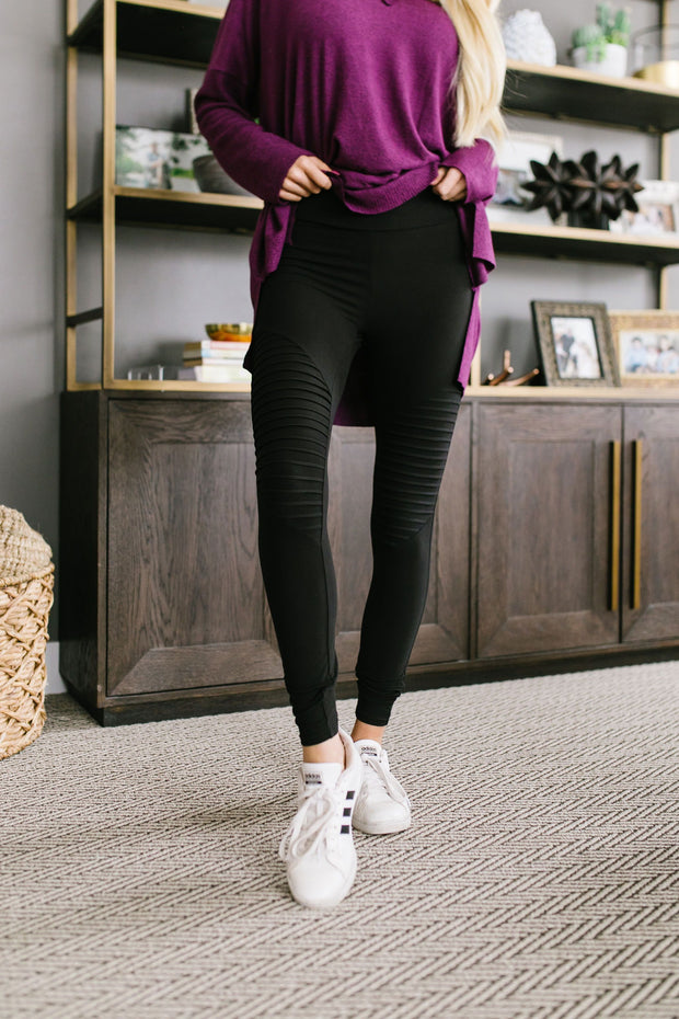 Soft As Butter Moto Leggings In Black - The Teal Turtle Clothing Company
