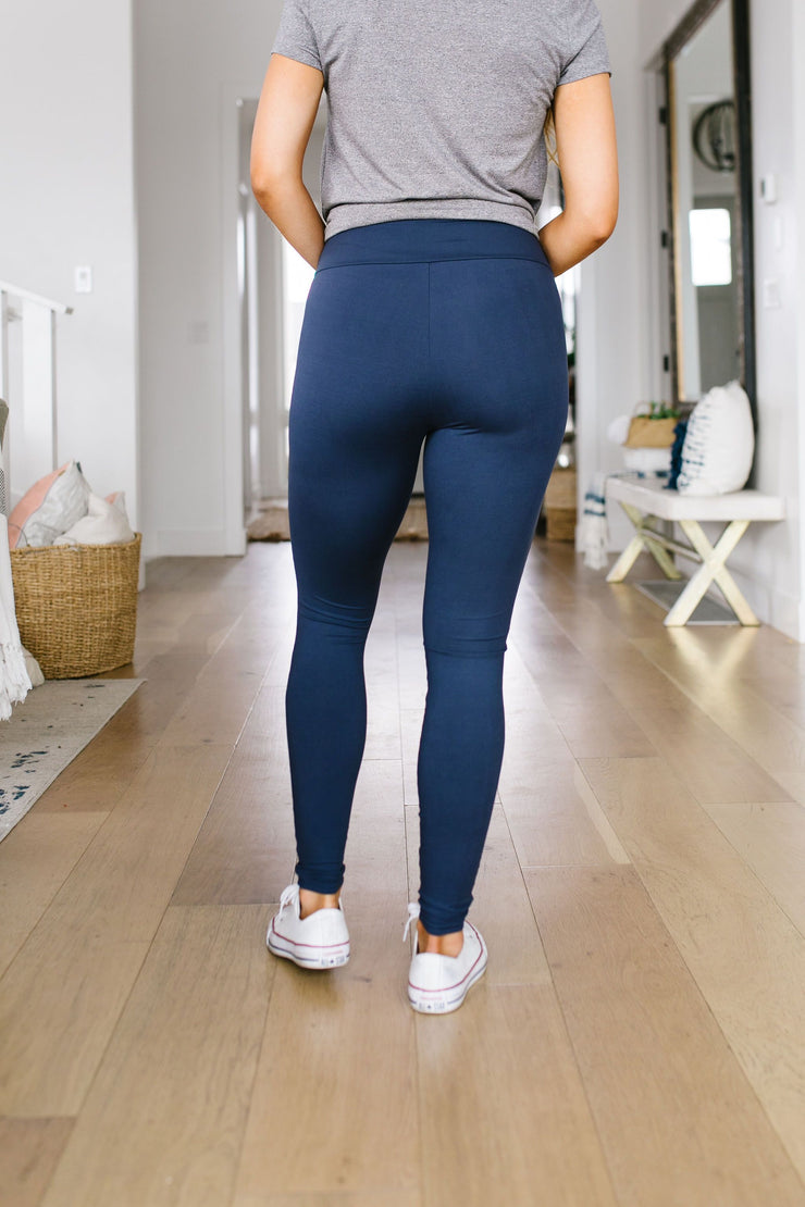Soft As Butter Moto Leggings In Navy - The Teal Turtle Clothing Company