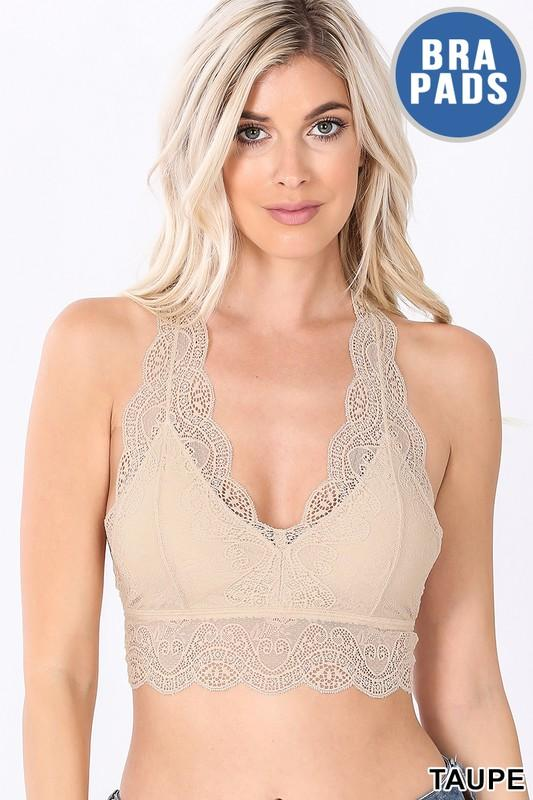 Lacy Bralette in Taupe - The Teal Turtle Clothing Company