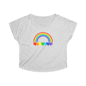 Rainbow Hearts Women's Tri-Blend Dolman Shirt