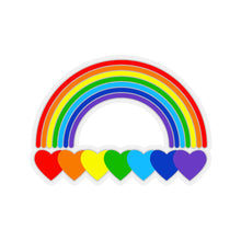 Load image into Gallery viewer, Rainbow Hearts Kiss-Cut Stickers