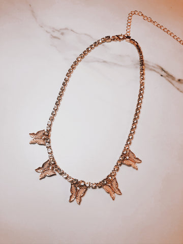 Gold Butterfly Rhinestone Choker Necklace