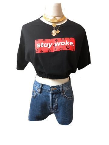 Upcycled Stay Woke Cinched Crop Top