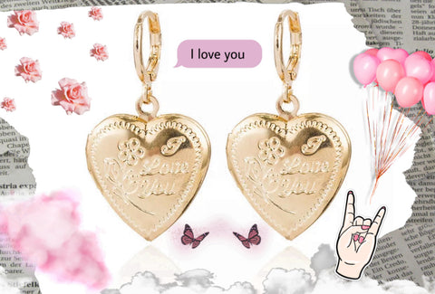 "Gold ""I love you"" Locket Earrings"