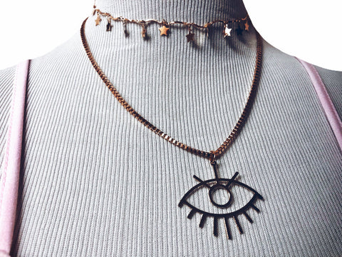 Evil eye + Star Layered Necklace