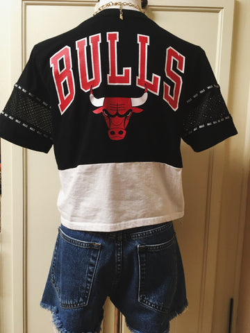 Chicago Bulls Chain Lace Up Crop Top Jersey Sz Sml
