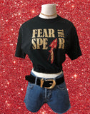 Upcycled FSU Fear The Spear Glitter Cinched Crop Top