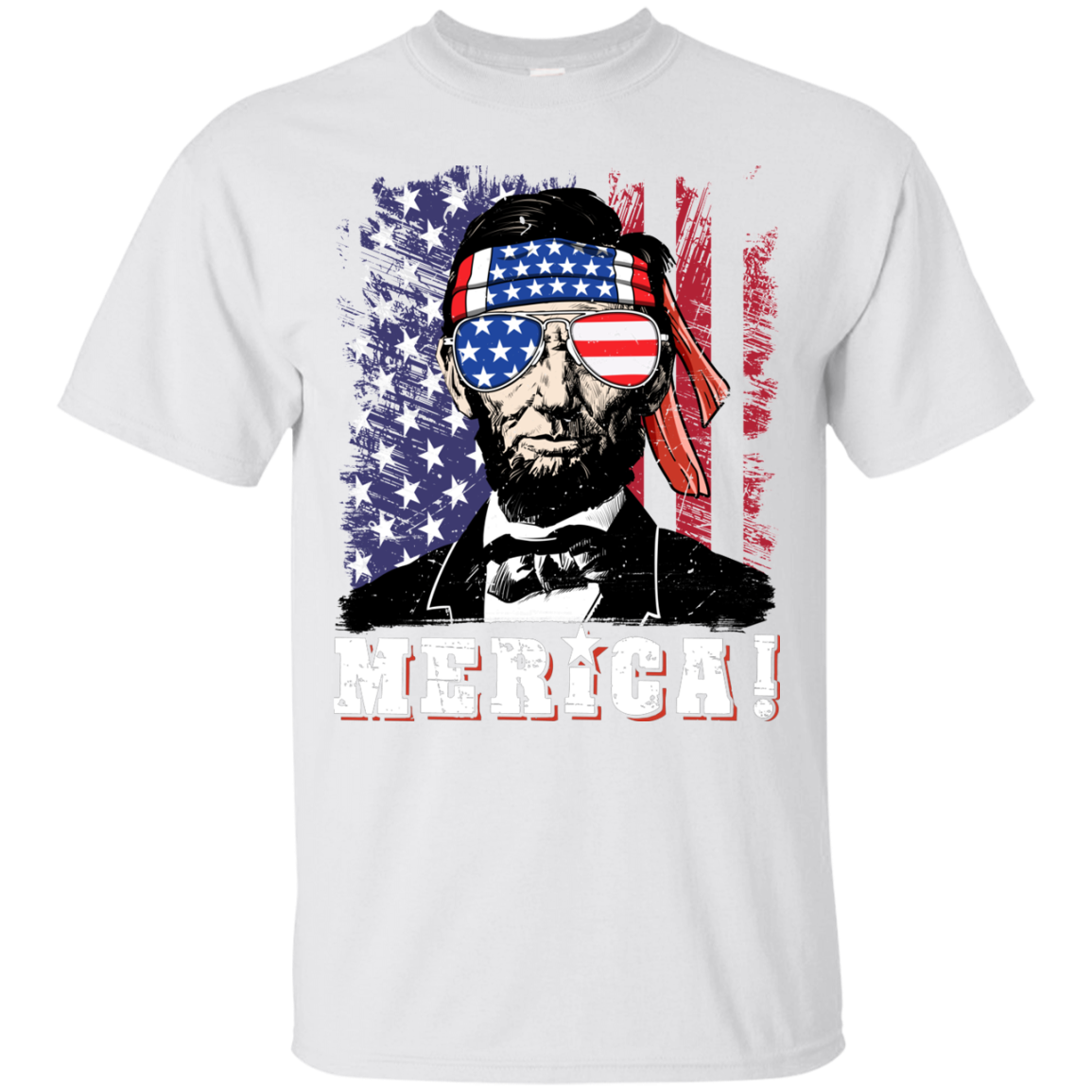 4th of July Shirts for Men Merica Abe Lincoln Gift Men Cotton T Shirt
