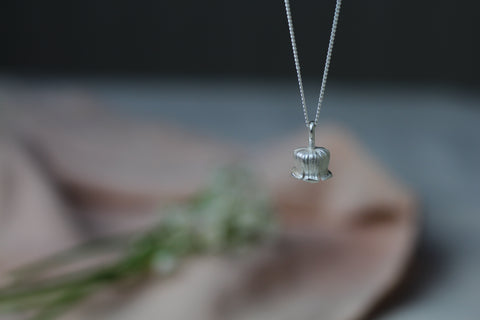 Silver lilly of the valley flower necklace by Cast & Found