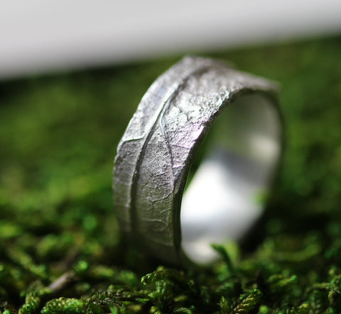 Bespoke Wedding wide men's band with organic texture from leaf/bark hand made by Cast & Found in the UK