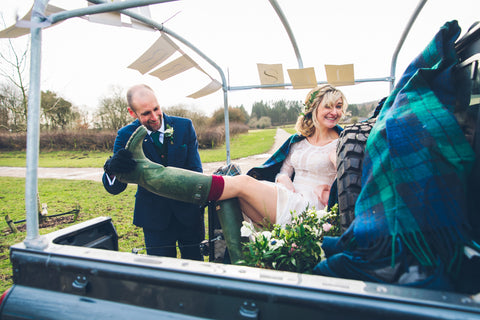 Hunter Wellies on wedding day