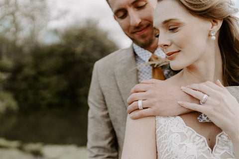 Textured bespoke wedding gold bands by ethical UK jeweller Jessica Collin Cast and Found Jewellery