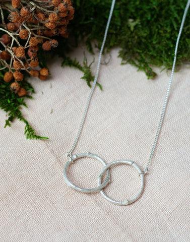 Double circle pendant eternity necklace silver hand made