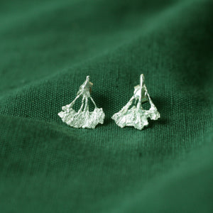 cow parsley silver earrings on green cloth