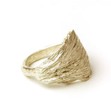 gold artichoke leaf ring on white background