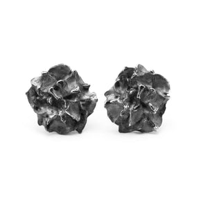 Oxidised Hedgerow Flower stud earrings on white background