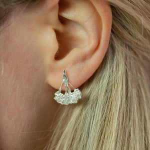 cow parsley silver earrings on model ear with blonde hair