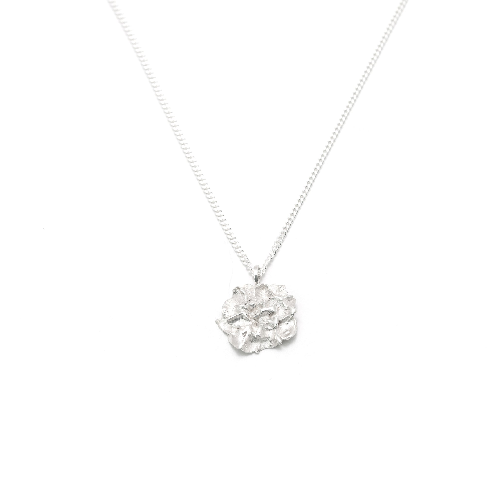 Silver Hedgerow Flower Drop necklace on white background