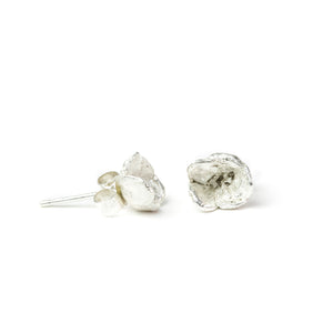 Small silver Blueweed Flower Stud Earrings on white background