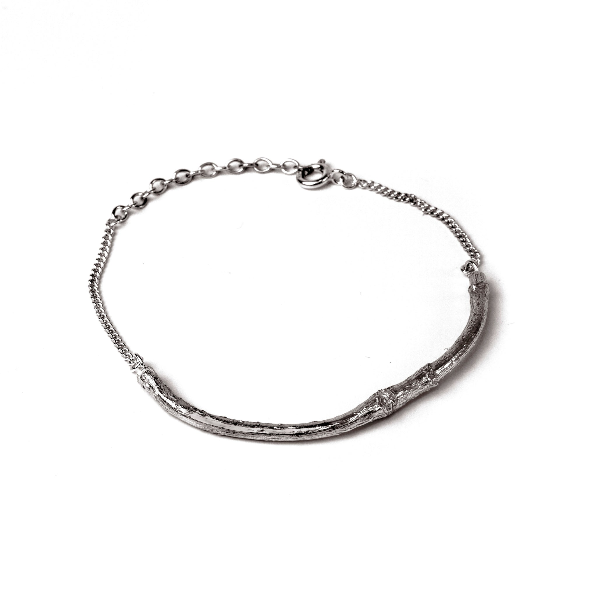 Oxidised Twig Bracelet on white background