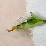 Silver engagement ring rested on green leave above pink and white cloth