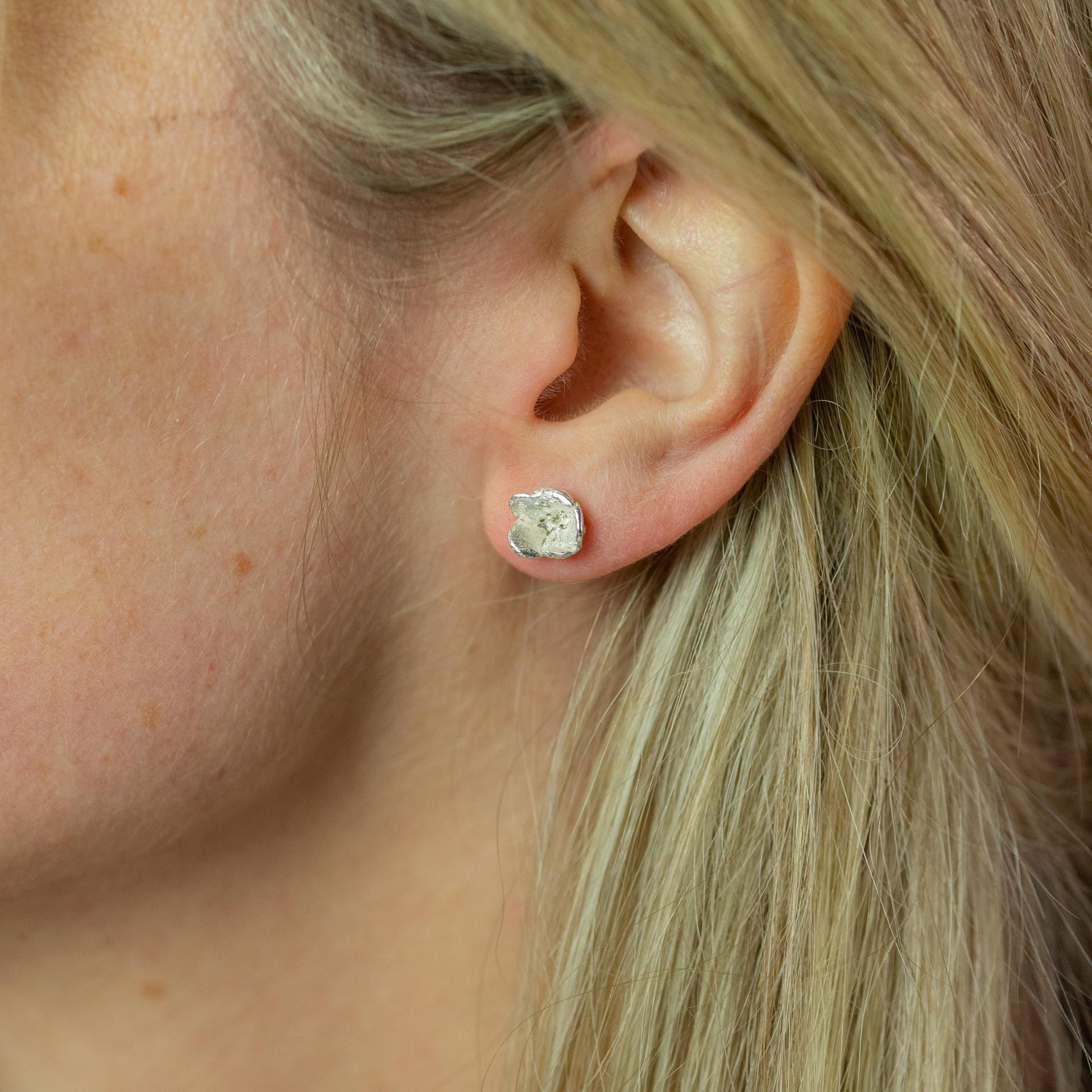Small Blueweed Flower Stud Earrings modelled in ear