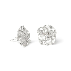 Silver Hedgerow Flower stud earrings on white background