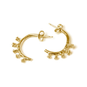 Gold Ivy bud half hoop earrings on white background