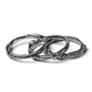 ivy leaf oxidised stacking rings on white background