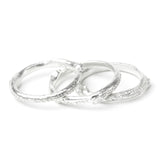 ivy leaf silver stacking rings in white background