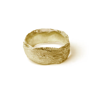 Gold Snow Drop Leaf Wrap Ring on white background