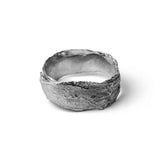Oxidised Snow Drop Leaf Wrap Ring on white background