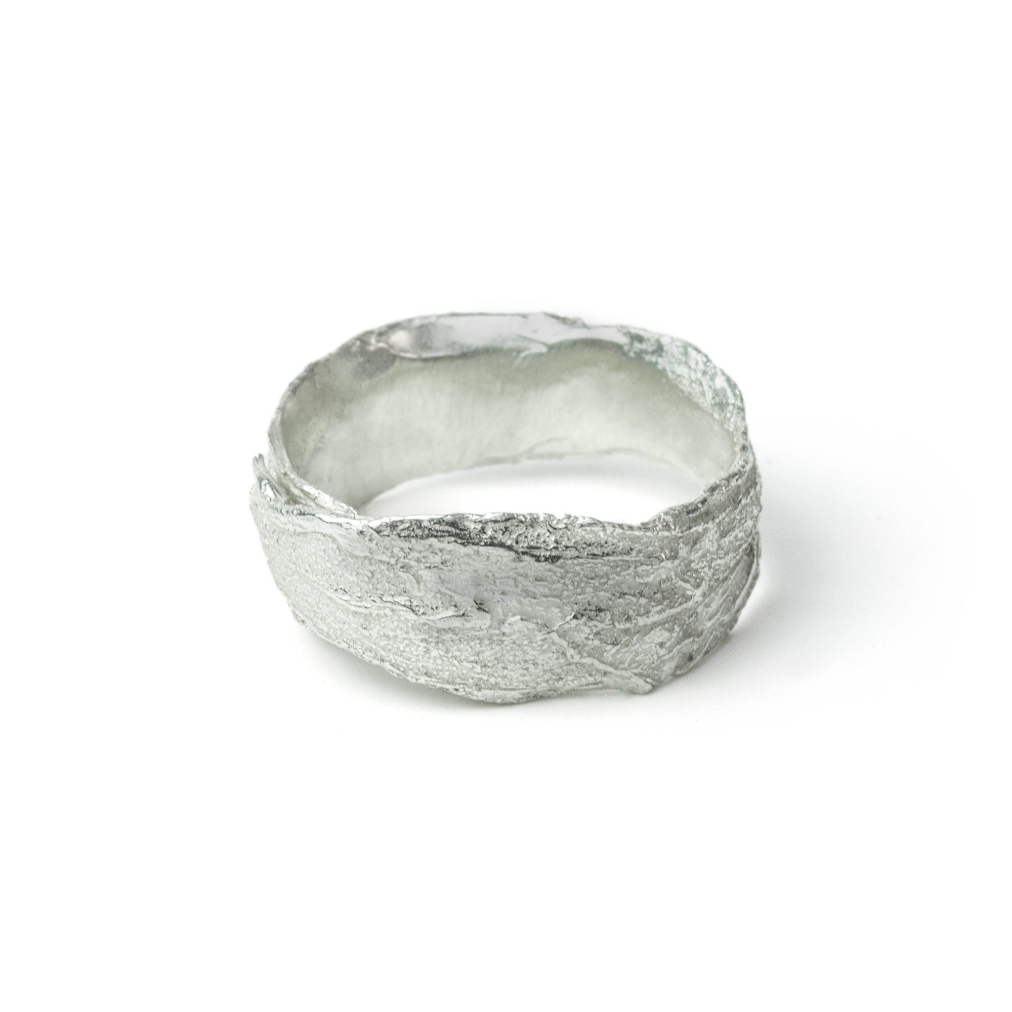 Silver Snow Drop Leaf Wrap Ring on white background