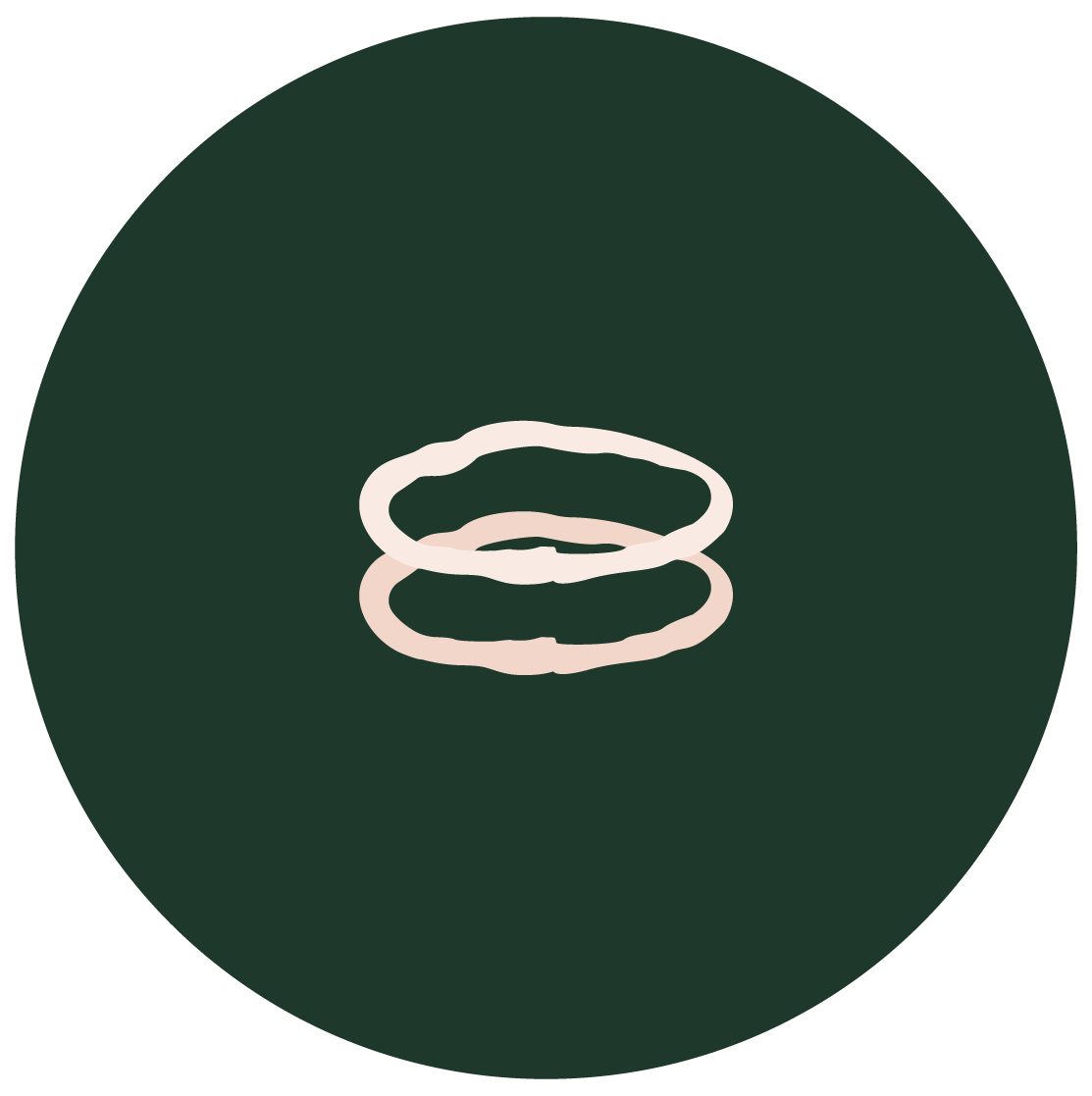illustration of two Stem Stacking Rings on green circle background