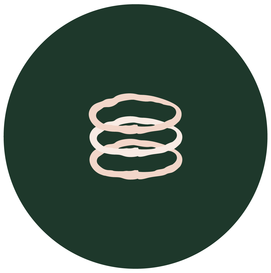 Illustration of Three Stem Stacking Rings on green background