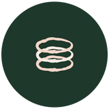 illustration of three stem Stacking Ring on green circle background