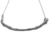 Oxidised Textured Twig Necklace on white background