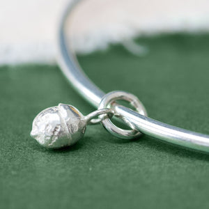 Silver Yew Berry Charm Bangle hand made