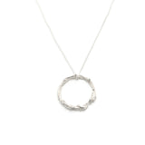 silver wreath pendant on white background