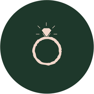 engagement ring illustration on green circle