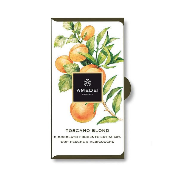 Amedei Toscano Blond, Dark Chocolate With Peach and Apricot 63%