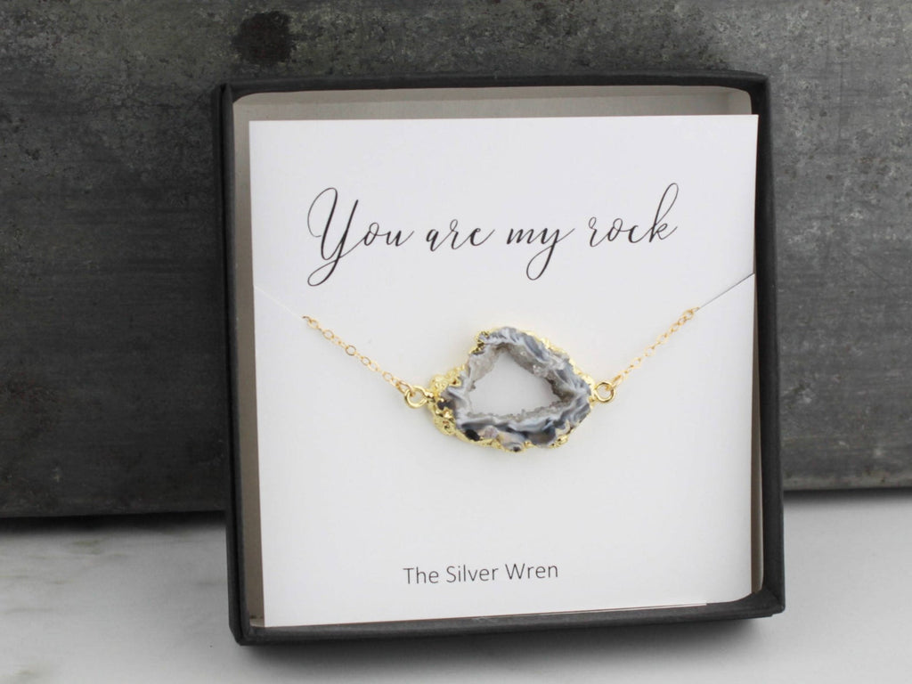 Jewelry Gift, Gift for Her, Sister Gift, Gift for Sister, Best Friend Gift, You are My Rock Necklace, Dainty Jewelry, Gift for Women, bff