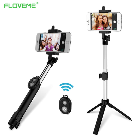 FLOVEME Foldable Mini Tripod  Bluetooth Selfie Stick +Bluetooth Shutter RC for IOS & Android