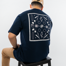 Load image into Gallery viewer, PMC X Akin Barber Bandana Tee Navy