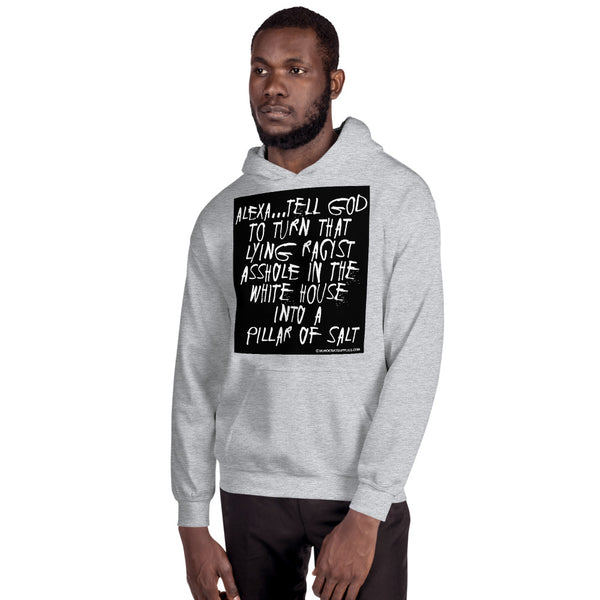 Alexa...Tell God to Turn That Lying Racist Asshole in the White House Into a Pillar of Salt Unisex Hoodie Sweatshirt