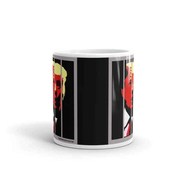 Donald Trump in Jail Behind Bars Coffee Mug, Black