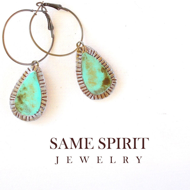 Tiny Crimped Teardrop Distressed Turquoise